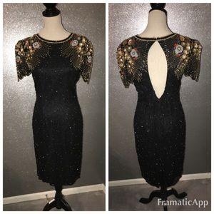 Lillie Rubin vintage 80's beaded dress: M